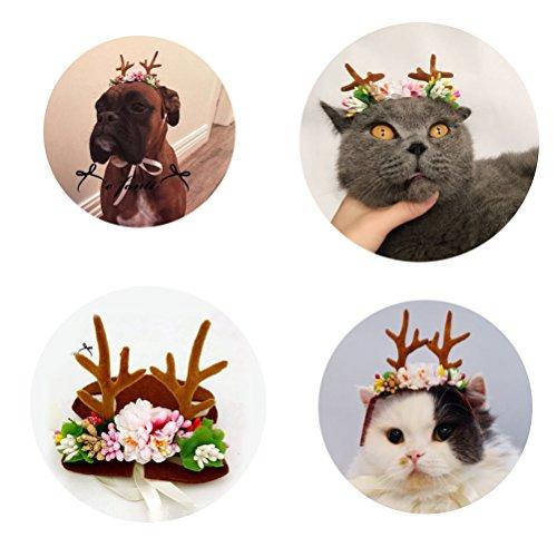 Süße Weihnachten Hund Katze Haarreif Rentier Geweih Form Pet Head (Corgis Kostüme Halloween In)