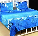 Milap Blue Dolphin 3D Double Bed Sheet