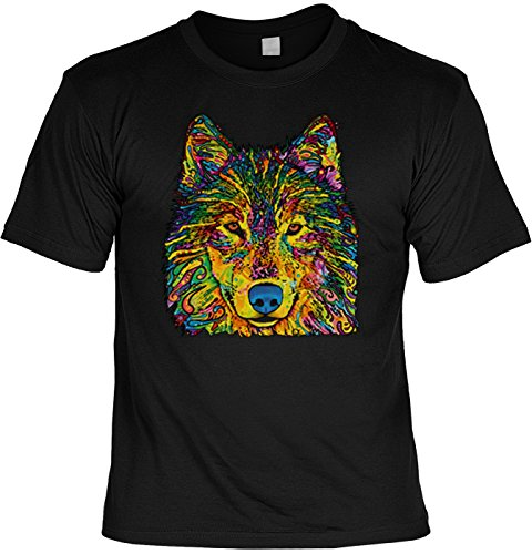 Color T-Shirt Wolf in Farbe Shirt 4 Heroes Geburtstag Geschenk geil bedruckt Schwarz