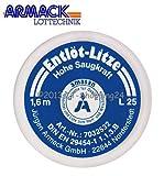 Amasan Entlötlitze Spulen L25 (blau= grob 2,5mm breit) mit hoher Saugfähigkeit aus Kupfer 1,60 Meter Spule