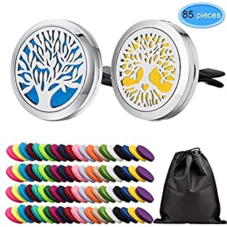 EAONE 2 Pcs Car Aromatherapy Essential Oil Vent Clip Locket Air Freshener Diffuser Tree Style with 82 Pcs Replacement Refill Pads(20 colors), Without Oil