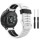 MoKo Garmin Forerunner 235 Smartwatch bracelet, Watch Band flexible en silicone avec des outils pour Forerunner 235/220/230/620/630/735 Montre de Running GPS avec Cardio au Poignet, Blanc et Noir