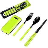 zreal 3en 1cuchara tenedor cuchillo plegable para viaje, Set de cubiertos tenedor cuchara palillo de tambor para Camping viaje Picnic en pastique, verde