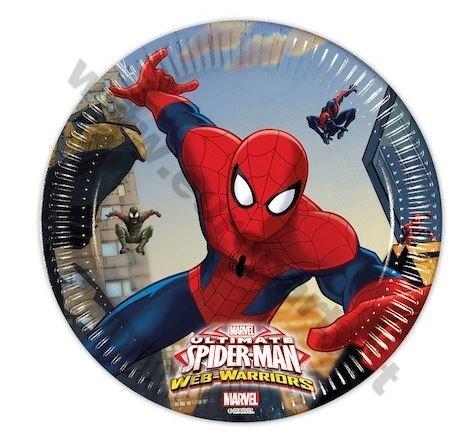 Procos 85152–Teller Papier Ultimate Spider Man Web Warriors, Ø20cm, 8Stück, (Spiderman Web)