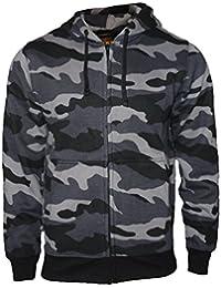 Sudadera con capucha chaqueta sudadera pesado camuflaje cremallera con capucha suéter de trabajo - Hombre - Negro Grises por Rock-It