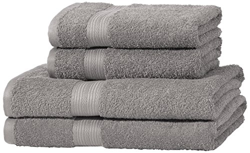 AmazonBasics Handtuch-Set, ausbleichsicher, 2 Badetücher und 2 Handtücher, Grau