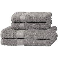 AmazonBasics Handtuch-Set, ausbleichsicher, 2 Badetücher und 2 Handtücher, Grau, 100% Baumwolle 500g/m²