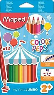 Maped Color'Peps Crayons de Couleur Maxi pour Enfants, Premiers Crayons de Coloriage pour Bébé +2 ans – Bo
