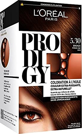 loral paris prodigy coloration permanente lhuile sans ammoniaque 53 chatain clair dor amazonfr hygine et soins du corps - Coloration Permanente Sans Ammoniaque
