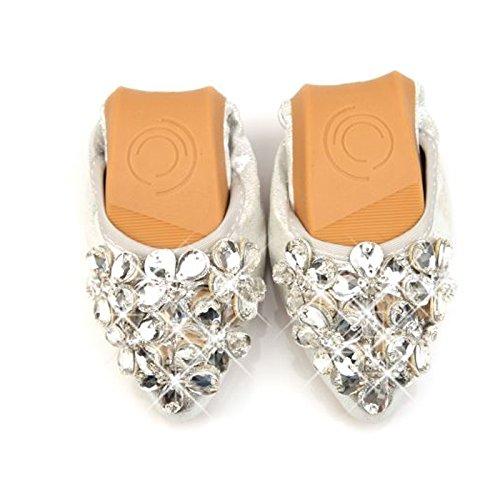 CHNHIRA Femme Chaussure Pointues Derbies Sabots Chaussure Basses Strass Chaussure Plats de Loisir Argent