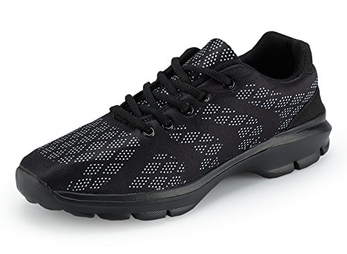 UMmaid Mens Trainers Breathable Lightweight Gym Walking Shoes Sports Running Shoes Black40