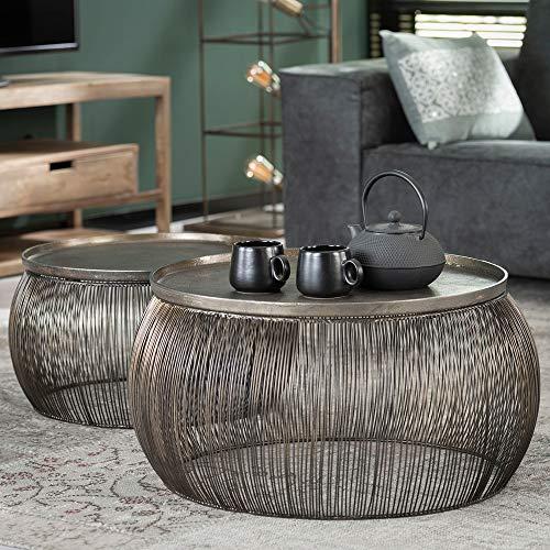 Maison ESTO 2er Set Couchtisch Drahtgestell Bronze Tisch Sofatisch Tischset Anstelltisch
