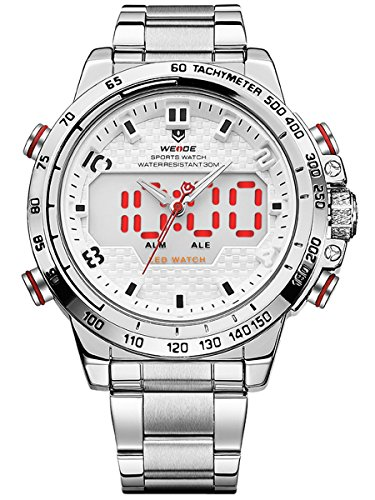- 51aghzc7bXL - Alienwork LED Analogue-Digital Watch XXL Oversized Wristwatch Multi-function Metal white silver WD.WH-6102-2