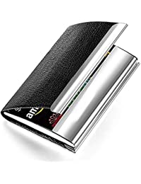 SNDIA Business Card Case PU Leather & Stainless Steel Multi Card Wallet Credit Card Holder for Men & Women