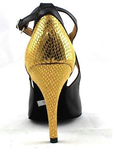ShangYi Chaussures de danse(Rouge / Blanc / Or) -Personnalisables-Talon Aiguille-Cuir-Latine / Moderne Gold