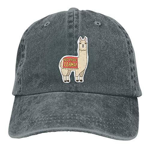 No Prob Llama Logo Retro Adjustable Cowboy Denim Hat Unisex Hip Hop Black Baseball Caps