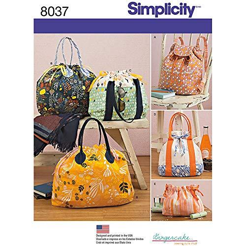 Simplicity 8037os Rucksack Tragetaschen und Kosmetiktasche Schnittmuster, Papier