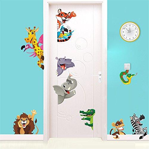 Rainbow Fox Tier Zoo Wandaufkleber Tier von Elefant Affe Löwe Krokodil zum Kinder Zimmer oder Kindergarten Dekoration