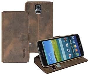 Book-Style Ledertasche Tasche für Samsung Galaxy S5 *ECHT LEDER* Handytasche Case Etui Hülle (Original Suncase) in antik - braun (sand)