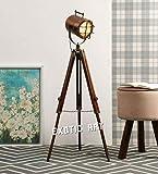 Exotic Art Wood Tripod Floor Lamp, Copper