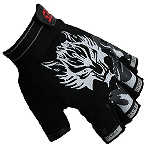 Andyshi Men's Outdoor Sports Wolf Printed Cycling Anti-skid Gloves Black