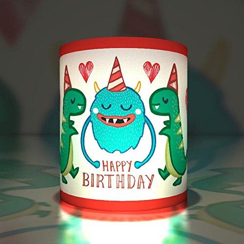 Kartenkaufrausch 5 coole Monster Papier Windlichter| Teelichthalter| Transparent Leuchten für Groß und Klein: Happy Birthday Cool Leuchten