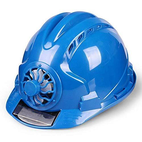 EliteMill Trabajo Casco, Seguridad Laboral Casco, Solar Ventilador Trabajo Casco Ajustable Ventilación Solar Impermeable Arquitectura Trabajador Tapa - Azul