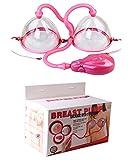 HenMerry Dual Vakuum Saugnapf Brustvergrößerung Pumpen-Set Brust-Massage (Pink-Elektrisch)
