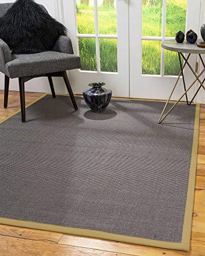 NaturalAreaRugs Big Sur mit Sisal-Teppich mit Bordüre, graugrün, 2' 6