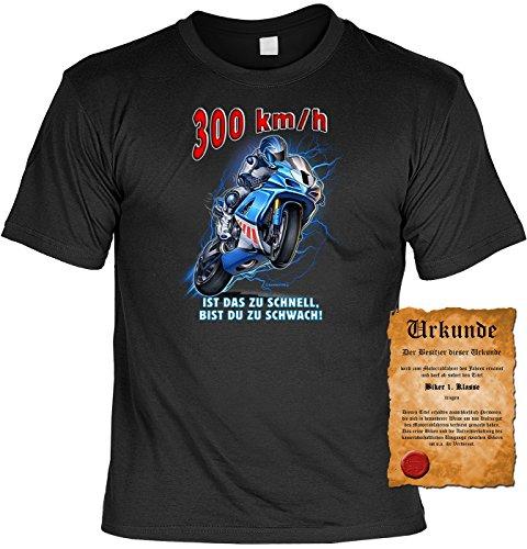 Biker Motorrad Motiv T-Shirt :-: mit Urkunde schwarz-18