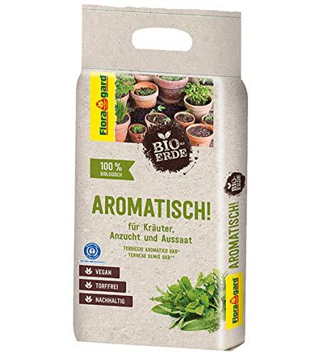 Floragard Bio-Erde Aromatisch 1x3 Liter - für Anzucht und Aussaat sowie für Kräuter - torffrei und vegan