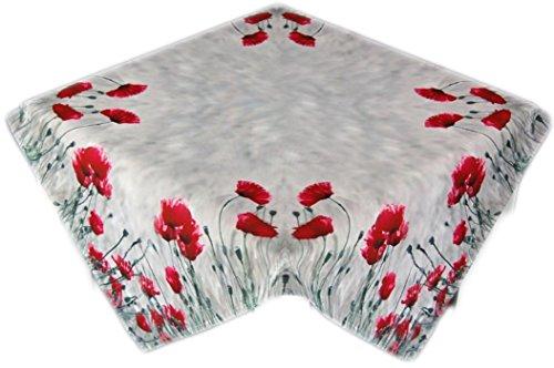 Pflegeleichte Tischdecke Eckig Mohnblumen Sommer Herbst Fotoprint Polyester Sommerdecke Gartendecke Gartentischdecke (Mitteldecke 85x85 cm)