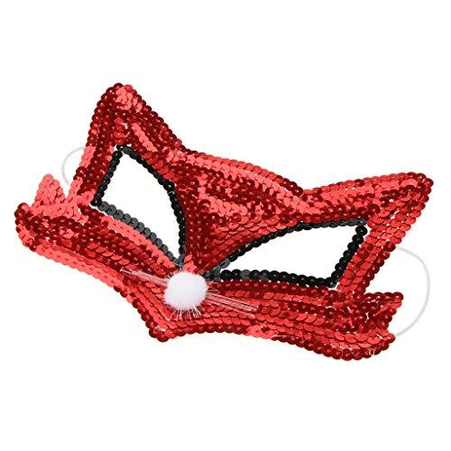 SunniMix Pailletten Augenmaske Maskerade Venezianische Halbe Gesichtsmaske Kostüm Prop Gift Favor - rot