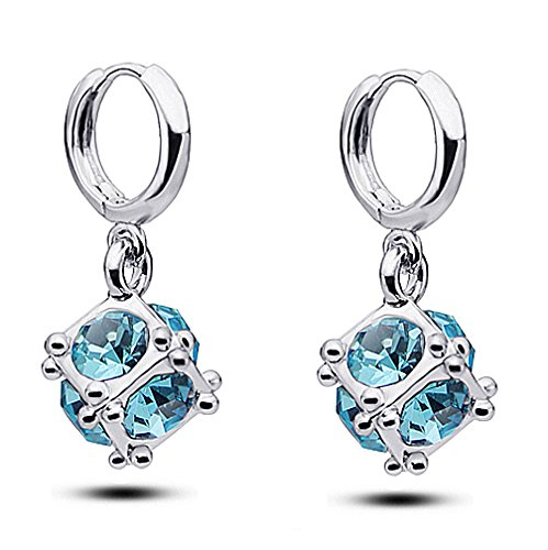 Silver Shoppee My Love Rhodium Plated Crystal Alloy Drop Earring for Girls and Women  available at amazon for Rs.379