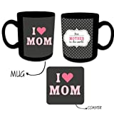 Unique Gifts for Mother , Giftsmate Love You Mom Polka Coffee Mug Gift set for Mother with Coaster, Gifts for Mother, Birthday Gifts for Mom
