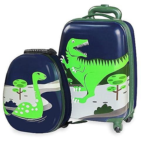 Kids Luggage - iPlay, iLearn Girl's Luggage Set 18 Inch Luggage 14 Inch Backpack-Dinosaur