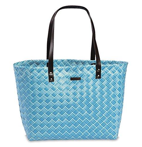 Korbtasche Einkaufskorb Umhängetasche Schultertasche mit Henkel Korb Tasche Strandtasche Polyestergeflecht in Rosa Pink blau hell