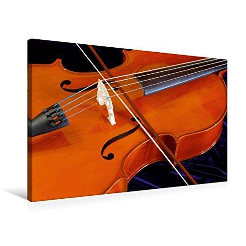 Calvendo Premium Textil-Leinwand 75 cm x 50 cm quer, Cello mit Bogen | Wandbild, Bild auf Keilrahmen, Fertigbild auf echter Leinwand, Leinwanddruck Kunst Kunst