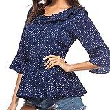 Langarmshirt Damen Blusen Elegante Dot Pullover Rundhalsausschnitt Bell Langarm T-Shirt Tops Bluse Shirts Sweatshirt,ABsoar