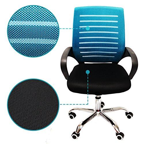 Armlehnen Computer-stühle Mit (Nawa Verstellbarer Computer-Stuhl mit Lendenwirbelstütze für Home Office Computer Stuhl höhenverstellbar Arbeit-Drehstuhl, mittlere Rückenlehne mit Armlehnen für Home Office Mod. C223 blau)