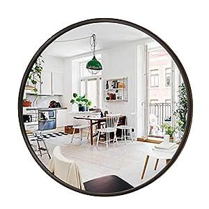 Leuchtend Schwarzer runder Wandspiegel – Großer runder Spiegel, Rustikaler Akzentspiegel, Hölzerner schwarzer runder…