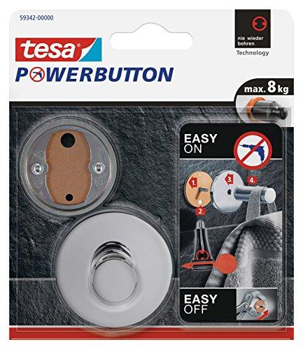 Tesa Powerbutton Haken (Premium Chrom) silber-glänzend