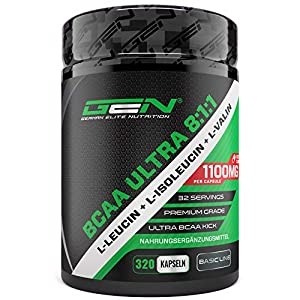 BCAA Ultra 8:1:1-320 Kapseln – 1100 mg pro Kapsel – L-Leucin, L-Isoleucin, L-Valin – Hochdosiert – Verzweigtkettige essentielle Aminosäuren – German Elite Nutrition