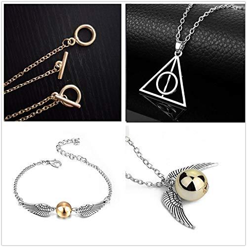 51agpOUQUBL - PPX Juego de 4 Collares de Harry Potter con Forma de Serpiente Dorada para los Fans de Harry Potter, colección de Regalos mágicos para Cosplay, joyería para Mujer y niña,con Caja Transparente