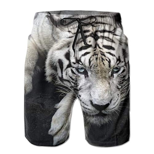 KAKICSA Tiger Albino Lie Muzzle Mens Summer Swim Trunks 3D Graphic Quick Dry Funny Beach Board Shorts with Mesh Lining(M) Albino Leopard