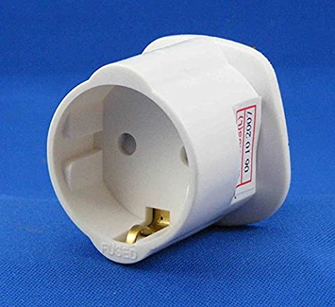 AMOS Schuko Shuko Style Socket EU Euro European 2-Pin to UK 3-Pin AC Mains Power Travel Visitor Adaptor Adapter Converter Power Plug (White) by AMOS