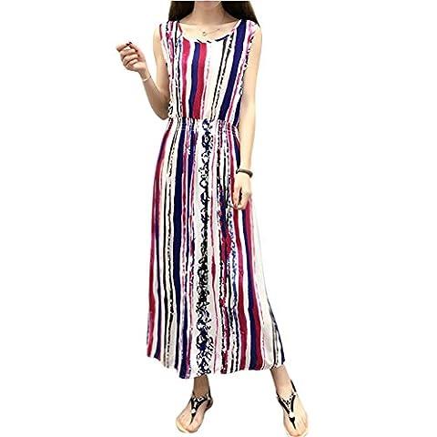 Minetom Femme Élégant Robe Longue D'été Sans Manches Round Col Cache Coeur Taille Haute Sundress de Bohême Maxi Casual Cocktail