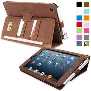 Snugg iPad Hülle - Smart Cover mit Aufsteller, elastischer Handschlaufe, Stylus-Halterung und Premium Nubuck Innenfutter Braun 'Distressed' Brown iPad Mini & iPad Mini 2 Executive
