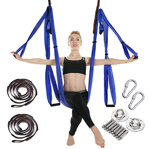 RAOMAL Yoga Hängematte Set Luftseide Yoga Set Safe Deluxe Aerial Kit Yoga Anti-Schwerkraft-Swing-Sling-Inversionswerkzeug (Königsblau) -