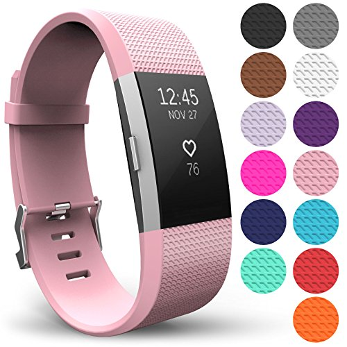 Yousave Accessories® Armband für Fitbit Charge 2, Ersatz Fitness Armband und Uhrenarmband, Silikon Sportarmband und Fitnessband, Wristband Armbänder für Fitbit Charge2 - Klein, Pastel Rosa